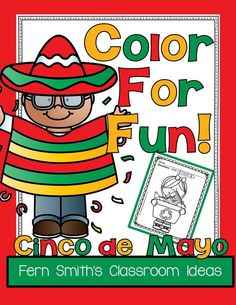 #FREE - Eleven Cinco de Mayo Color For Fun Printables for your Classroom. Visit this post for ideas, tips and freebies to have a little Cinco de Mayo fun at your school. #CincodeMayo