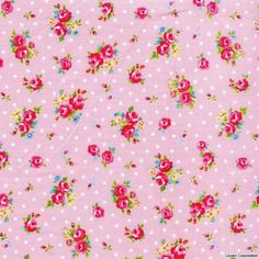 Lecien FLOWER SUGAR, Spring 2012, Mini Roses and Polka Dots in Pink