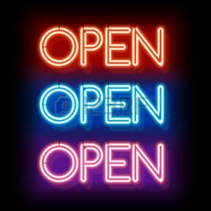 Picture of Neon sign Open. Electric lamp in the form of words. Retro sign for the club on black background. Red, blue, violet light in the form of text. illustration stock photo, images and stock photography. Neon Aesthetic, Night Aesthetic, Logo Online Shop, Open Signs, Now Open Sign, Neon Quotes, Eyelash Logo, Nail Logo, Neon Words