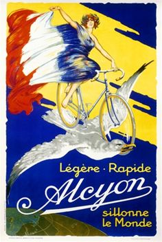 Alcyon by Imp. Gailard 1926 France - Beautiful Vintage Poster Reproductions. This vertical French transportation poster features a woman in a dress resembling the french flag flying with a bird on a bike. Giclee Advertising Print. Classic Posters