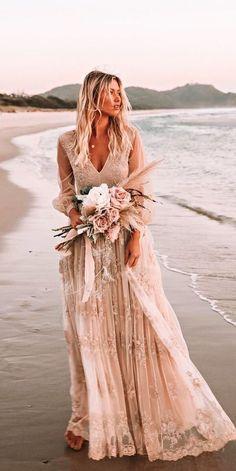 21 Boho Wedding Dresses to Blow Everyone Away | Kabuki Rune Boho Wedding Dress With Sleeves, Bohemian Wedding Dresses, Dresses With Sleeves, Maxi Dresses, Bohemian Bride, Cap Sleeves, Bohemian Weddings, Bridesmaid Dresses, Hippie Dresses
