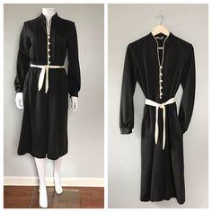70s black and white Day dress Minimalist black dress Wool