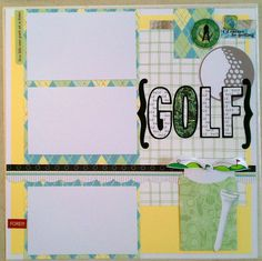 Golf 12x12 premade scrapbook layout page by ohioscrapper on Etsy, $15.00