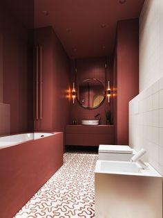 Bathroom Trends 2019 / 2020 – Designs, Colors and Tile Ideas - InteriorZine - Salle de Bains 01 Modern Bathroom Design, Bathroom Interior Design, Modern Interior Design, Bathroom Designs, Modern Decor, Color Interior, Contemporary Interior, Kitchen Design, Bathroom Red