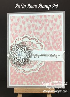 So In Love stamp set from the Stampin' Up! 2017 Occasions catalog is a great set for anniversary or wedding cards.  I used the Falling In Love DSP and Flourish Thinlits fo make this card.