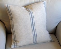 French Laundry BLUE  Stripes 20x20 pillow With INSERT by yiayias, $60.00