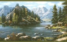 Wall Border: Country Border - from Northwoods Lodge book by Brewster Designs - Brewster Wallcovering. Kevin Hill Paintings, Scenery Paintings, Landscape Art, Landscape Paintings, Wooded Landscaping, Winter Painting, Wild Nature, Nature Scenes, Beautiful Artwork