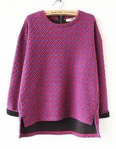Red Long Sleeve Plaid Zip Asymmetric Sweatshirt US$34.16