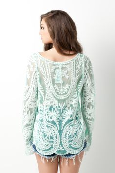 Long sleeve lace top in mint #swoonboutique