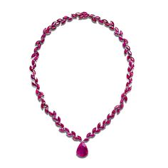OLD FASHIONED NECKLACE-Solange Azagury-Partridge.A marquise Ruby necklace with a pear shaped Ruby drop in blackened 18ct white gold