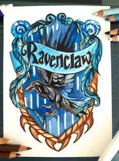 harry potter, ravenclaw, and hogwarts afbeelding Cumpleaños Harry Potter, Mundo Harry Potter, Harry Potter Drawings, Harry Potter Houses, Harry Potter Birthday, Harry Potter Universal, Fanart, Gina Weasley, Hogwarts Crest