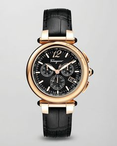 Croc-Embossed Chronograph Watch by Salvatore Ferragamo at Neiman Marcus.