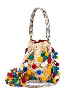Dolce & Gabbana Bolsa saco de rafia com aplicação de pompons