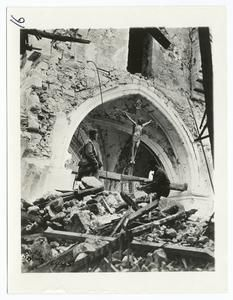 Crucifix, the only part of church not destroyed, Vaux, France, July 20, 1918