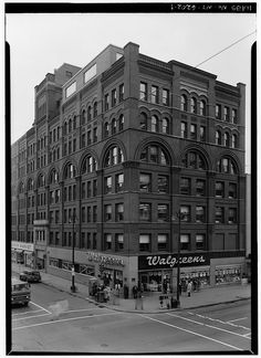 Kirk Fireproof building (demolished) formerly located at the corner of West Fayette and South Salina, Syracuse, NY.    photo from the Historic American Building Survey at the Library of Congress