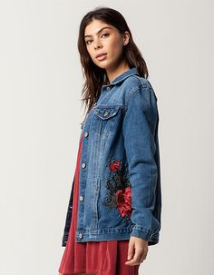 BOOM BOOM JEANS Rose Patch Womens Denim Jacket