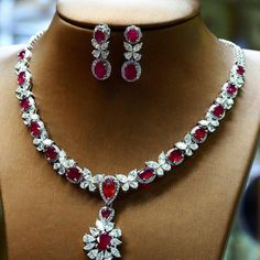 Myanmar rubies and diamonds necklace. Ruby Jewelry, Diamond Jewelry, Beaded Jewelry, Jewelry Necklaces, Fine Jewelry, Diamond Necklace Set, Diamond Pendant, Pendant Necklace, Sterling Necklaces