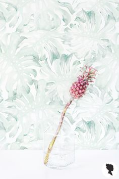 Watercolor Palm Leaf Removable Wallpaper /Self adhesive or Traditional wallpaper - L223