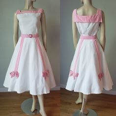 Cotton Candy Skirt and Blouse Set / Skirt / Top / Cotton Dress / Gingham Dress / Small Vintage Summer Dresses, 50s Dresses, Cotton Dresses, Vintage Outfits, Vintage Fashion, 1950s Skirt, Full Circle Skirts, Gingham Dress, Fitted Bodice