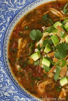 Chicken Tortilla Soup. Such authentic south-of-th-border flavor. Everyone goes crazy over this delicious soup! It's a meal in a bowl.