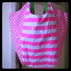 Victoria's Secret Tote Victoria's Secret beach bag tote, really cute with pink stripes and then green polka dot and floral print on the inside, a little dirty from use as pictured! Victoria's Secret Bags Totes