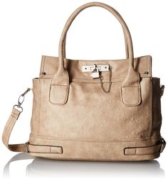 MG Collection Ostrich Padlock Office Tote Bag, Beige, One Size: Handbags: Amazon.com
