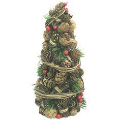 Holiday Living Christmas Foam 10-in PVC Pinecone Berry Cone Tree Freestanding Holiday Decoration