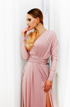 DŁUGA SUKIENKA na studniówkę, na wesele, w kolorze brudnego różu z rozcięciem. Nowa polska marka, unikatowe modele, wyjątkowe sukienki Wrap Dress, Dresses, Fashion, Vestidos, Moda, Fashion Styles, Dress, Fashion Illustrations, Gown