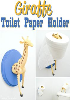 Giraffe Animal Toilet Paper Holder Craft Tutorial - Create this unique toilet paper holder using a plastic long-necked animal toy. Included is a free standing toilet paper holder.