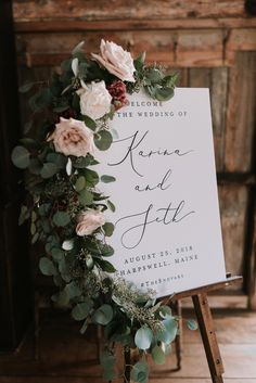 wedding signs chic wedding welcome sign decorated with floral Wedding Reception Ideas, Wedding Ceremony Decorations, Flower Decorations, Wedding Venues, Wedding Planning, Bridal Decorations, Spring Wedding Centerpieces, Wedding Ceremony Signs, Tent Reception