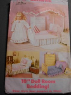 Butterick 5730 Canopy Doll Bed QuiltPillow 18 Dolls by MadkDesigns, $9.99