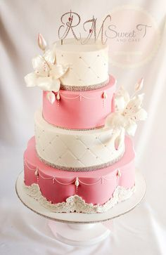 pink and pretty - by sweettandcake @ CakesDecor.com - cake decorating website