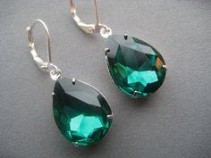 Emerald Green Earrings  Emerald Jewelry  by SilverTrumpetJewelry, $18.00