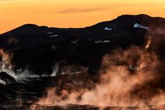 Leirhnjukur Lava Fields at sunrise provide a spectacular, albeit eerie, experience for visitors to Myvatn in northern Iceland.