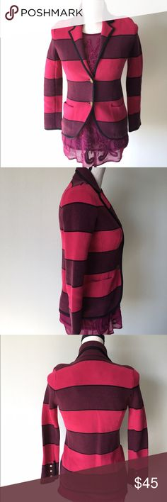 Loft Pink Striped Blazer Petite Small This beautiful blazer is in excellent condition. It is stretchy. Petite small. Striped pink and purple. Make me an offer :-) LOFT Jackets & Coats Blazers