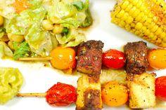 Grillteller mit veganen Garnelenspießen