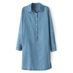 Dress - Stand Collar Light Blue Denim Dress #pariscoming your personal style online store. #outfit #stylist #Styling #streetstyle #fashionblog #fashiondiaries #fashiondiary #WearIt #WhatYouWear ✿ ❀ like it? buy now ❀ ✿