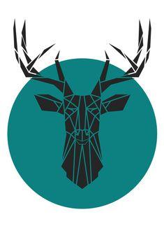 Geometric Deer Head, Faux Taxidermy. Geometric Animal Print. Teal .Reproduction of Original Stencil. Art Print