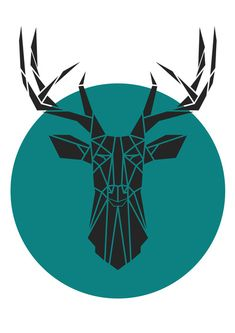 Geometric Deer Head, Faux Taxidermy. Geometric Animal Print. Teal .Reproduction of Original Stencil. Art Print