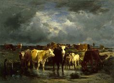 Emile van Marcke - The Approach of a Storm - circa 1872 oil on canvas, Height: 146 cm in). Width: 201 cm in) Walters Art Museum, Baltimore, United States The son of a Flemish artist. Gabriel, Barbizon School, Cow Art, Cattle, First World, Animals Beautiful, Art Museum, Animals And Pets, Oil On Canvas