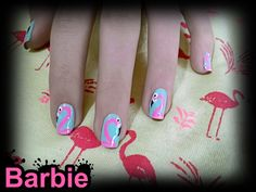 Flamingo Nails - Cute nail design of pinkish flamingo for shiny days :-)