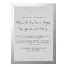 Silver Foil Wedding Invitations And Gray