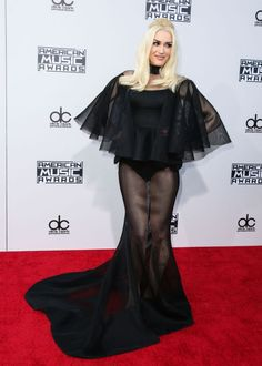 Gwen Stefani in a sheer Yousef Al-Jasmi gown at the 2015 American Music Awards.