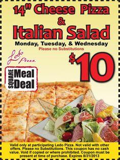"14"" Cheese Pizza & Italian Salad - $10"