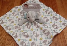Blankets & Beyond Adorable Nunu Security Blanket ~Elephants ~White, Gray & Blue  #BlanketsandBeyond