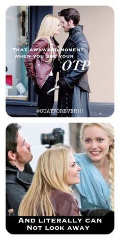 That awkward moment when you see your OTP and literally can not look away. #captainswan #season4 #elsa