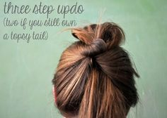 casual top knot updo for long hair