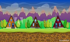 Materiał do szycia w Seamless cartoon landscape trees and houses. Vector unending background with separated layers. Cartoon, Landscape, Illustration, Scenery, Illustrations, Cartoons, Corner Landscaping, Comics And Cartoons