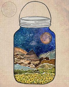 Star Jar mixed media collage art by Jenndalyn