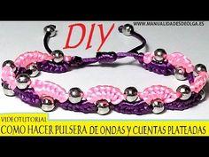 Easy Macrame Eternal Wave Bracelet with Beads. Please watch more Micro Macrame Tutorials in Boho style here: http:/. Macrame Bracelet Tutorial, Crochet Bracelet, Macrame Necklace, Macrame Jewelry, Macrame Bracelets, Beads Tutorial, Bracelet Crafts, Jewelry Crafts, Hemp Jewelry